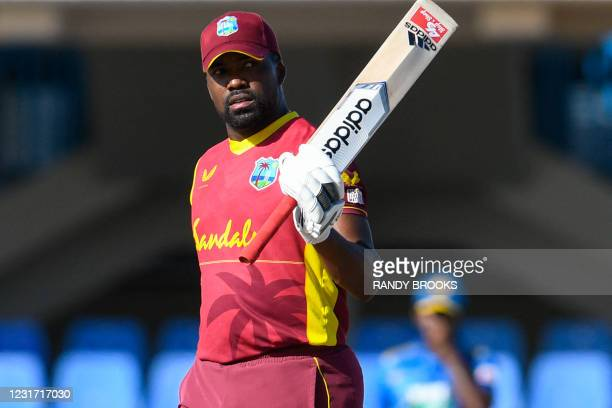 Darren Bravo of West Indies celebrates his half century during the 3rd and final ODI match between West Indies and Sri Lanka at Vivian Richards...
