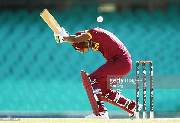 Darren Bravo of West Indies ducks under a high ball during the ICC Cricket World Cup warm up match between the West Indies and Scotland at Sydney...