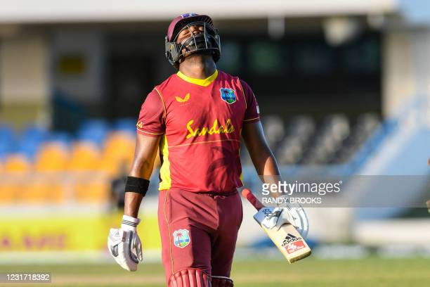 Darren Bravo of West Indies express disappointment after being dismissed during the 3rd and final ODI match between West Indies and Sri Lanka at...