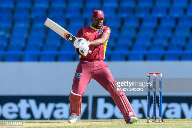Darren Bravo of West Indies hits 4 during the 1st ODI match between West Indies and Sri Lanka at Vivian Richards Cricket Stadium in North Sound,...