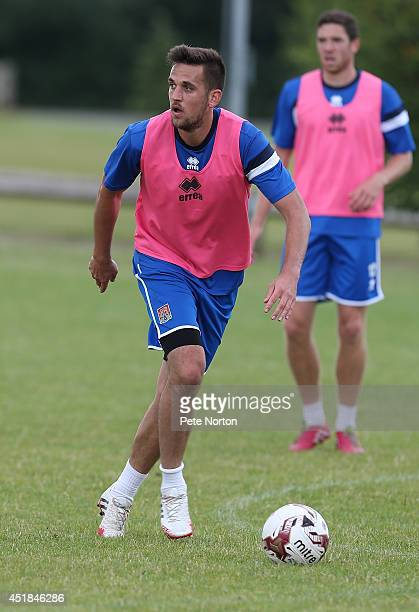 Darren Carter of Northampton Town in action during a training session at Moulton College on July 8 2014 in Northampton United Kingdom
