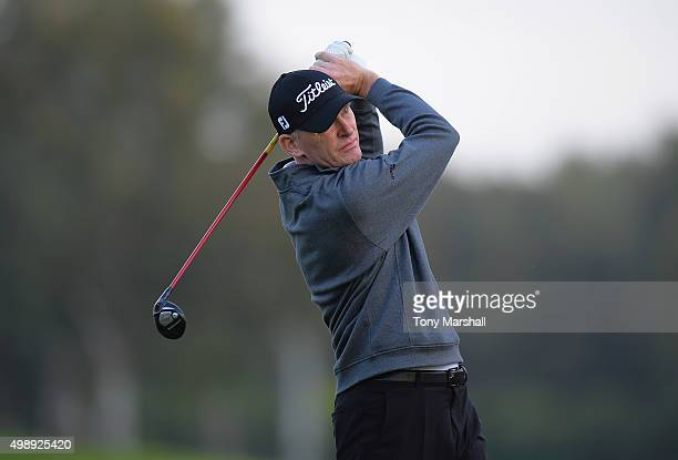 Darren Charlton of Dunstable Downs Golf Club plays his first shot on the 1st tee during the first round of the PGA PlayOffs at the Antalya Golf...