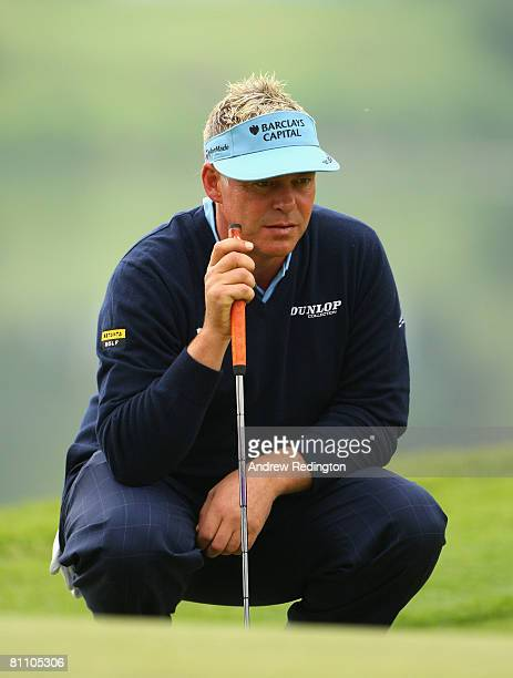 Darren Clarke of Northern Ireland lines up a putt on the 16th hole during the second round of the Irish Open on May 16 2008 at the Adare Manor Hotel...