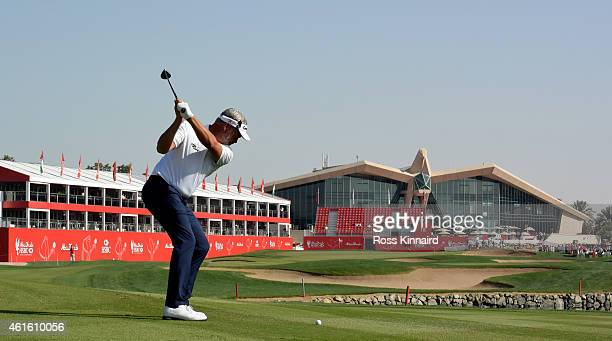 Darren Clarke of Northern Ireland on the 18th hole during the second round of the Abu Dhabi HSBC Golf Championship at the Abu Dhabi Golf Club on...