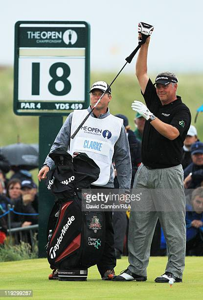 Darren Clarke of Northern Ireland prepares to tee off at the 18th hole during the final round of The 140th Open Championship at Royal St George's on...