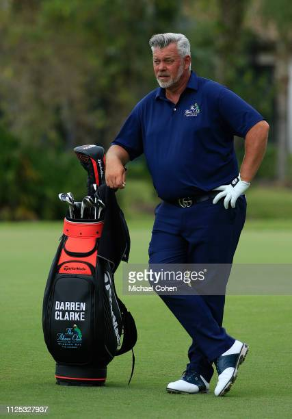 Darren Clarke of Northern Ireland stands by his golf bag during the second round of the Chubb Classic held at The Classics at Lely Resort on February...