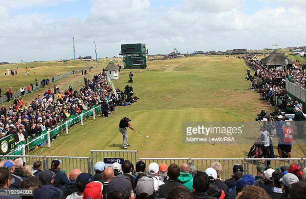 Darren Clarke of Northern Ireland tees off at the first hole during the final round of The 140th Open Championship at Royal St George's on July 17...