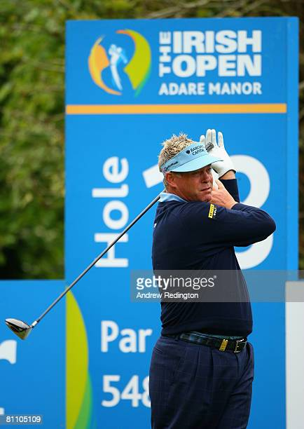 Darren Clarke of Northern Ireland tees off on the 18th hole during the second round of the Irish Open on May 16 2008 at the Adare Manor Hotel and...