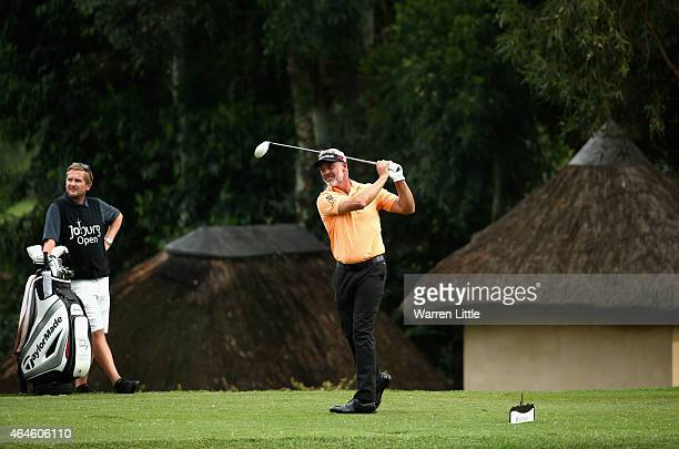 Darren Clarke of Northern Ireland tees off on the second hole during the second round of the Joburg Open at Royal Johannesburg and Kensington Golf...