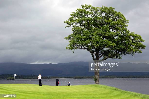 Darren Clarke of Northern Ireland waits on the sixth green during round four of The Barclays Scottish Open at Loch Lomond Golf Club on July 11 2010...