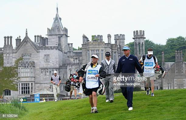Darren Clarke of Northern Ireland walks with his caddie Phil Morbey on the 16th hole during the second round of the Irish Open on May 16 2008 at the...