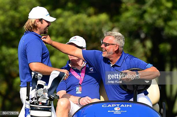 Darren Clarke Team Europe captain with Victor Dubuisson of Team Europe pictured during the practice round ahead of the Eurasia Cup 2016 presented by...