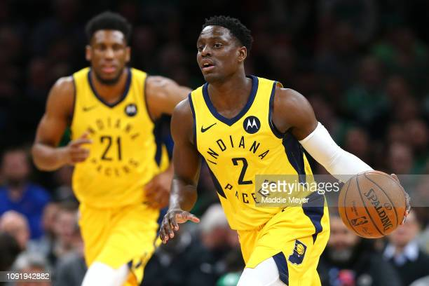 Darren Collison of the Indiana Pacers dribbles against the Boston Celtics at TD Garden on January 09 2019 in Boston Massachusetts NOTE TO USER User...