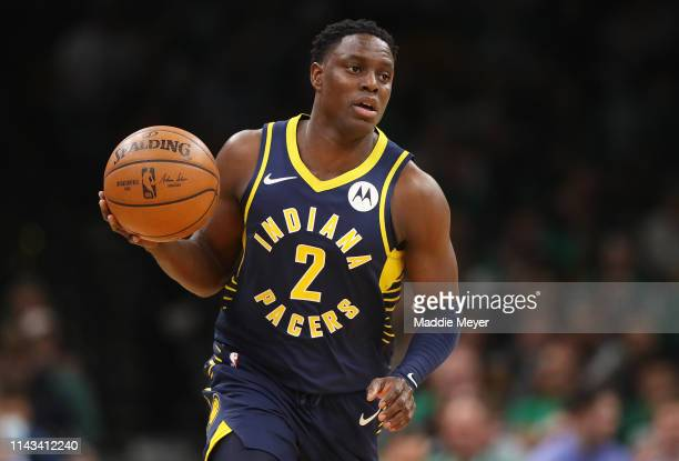 Darren Collison of the Indiana Pacers dribbles against the Boston Celtics during the third quarter of Game Two of Round One of the 2019 NBA Playoffs...