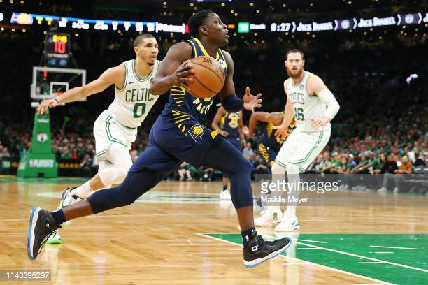 Darren Collison of the Indiana Pacers drives to the basket during the third quarter of Game Two of Round One of the 2019 NBA Playoffs against the...