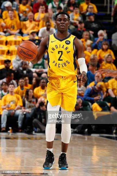 Darren Collison of the Indiana Pacers handles the ball against the Boston Celtics during Game Four of Round One of the 2019 NBA Playoffs on April 21...