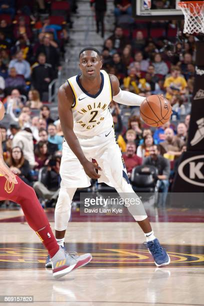 Darren Collison of the Indiana Pacers handles the ball against the Cleveland Cavaliers on November 1 2017 at Quicken Loans Arena in Cleveland Ohio...