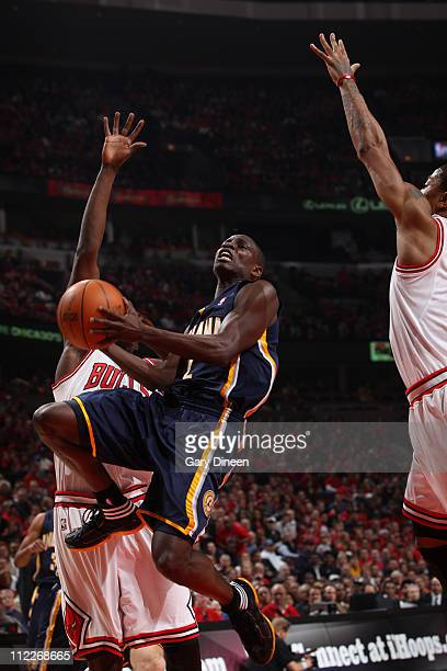 Darren Collison of the Indiana Pacers shoots against the Chicago Bulls in Game One of the Eastern Conference Quarterfinals in the 2011 NBA Playoffs...