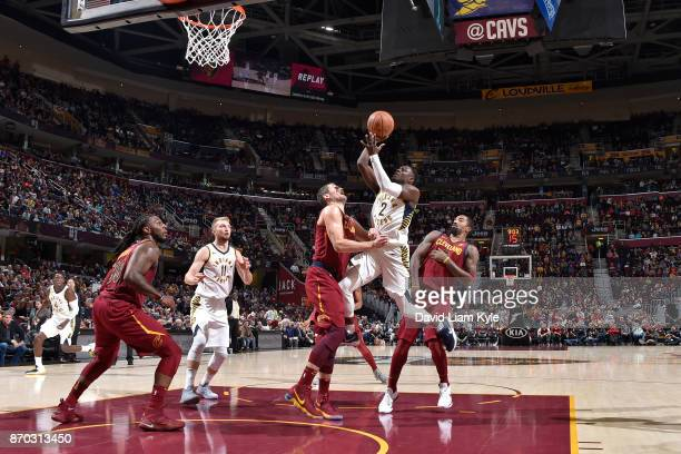 Darren Collison of the Indiana Pacers shoots the ball during the game against the Cleveland Cavaliers on November 1 2017 at Quicken Loans Arena in...