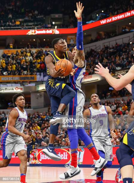 Darren Collison of the Indiana Pacers shoots they ball against Eric Moreland of the Detroit Pistons at Bankers Life Fieldhouse on December 15, 2017...