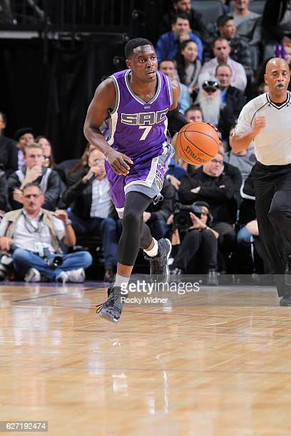 Darren Collison of the Sacramento Kings brings the ball up the court against the Oklahoma City Thunder on November 23, 2016 at Golden 1 Center in...