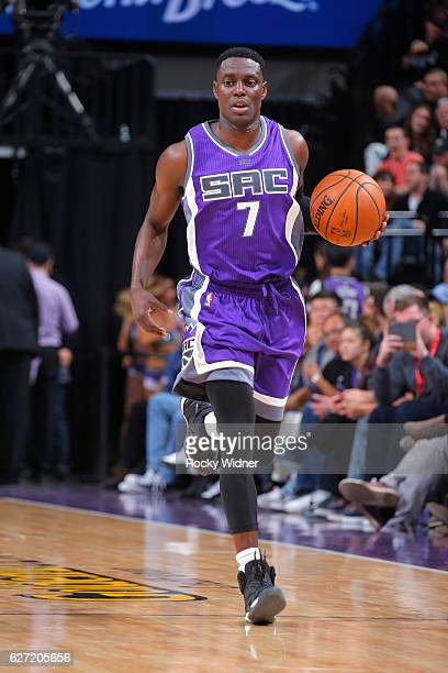 Darren Collison of the Sacramento Kings brings the ball up the court against the Oklahoma City Thunder on November 23 2016 at Golden 1 Center in...