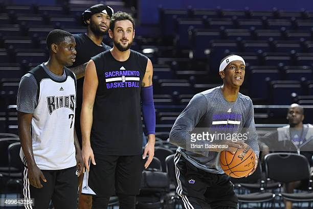 Darren Collison of the Sacramento Kings Marco Belinelli of the Sacramento Kings and Rajon Rondo of the Sacramento Kings during practice on December 2...