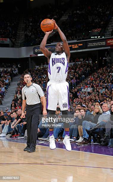 Darren Collison of the Sacramento Kings shoots a three pointer against the Philadelphia 76ers on December 30 2015 at Sleep Train Arena in Sacramento...