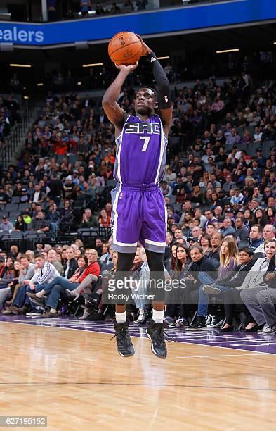 Darren Collison of the Sacramento Kings shoots a three pointer against the Oklahoma City Thunder on November 23 2016 at Golden 1 Center in Sacramento...