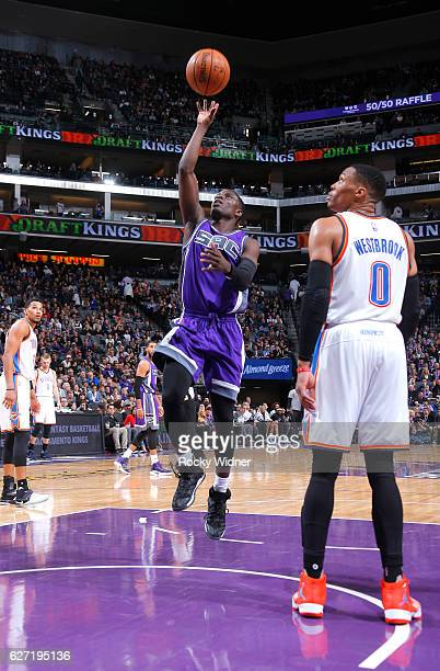 Darren Collison of the Sacramento Kings shoots against the Oklahoma City Thunder on November 23 2016 at Golden 1 Center in Sacramento California NOTE...