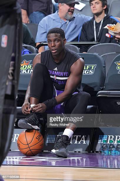 Darren Collison of the Sacramento Kings warms up against the Oklahoma City Thunder on November 23 2016 at Golden 1 Center in Sacramento California...