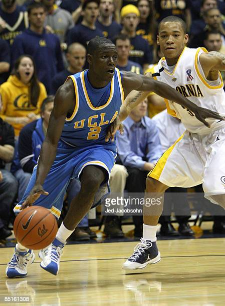 Darren Collison of the UCLA Bruins drives against Jerome Randle of the California Golden Bears during an NCAA Pac-10 basketball game on February 28,...