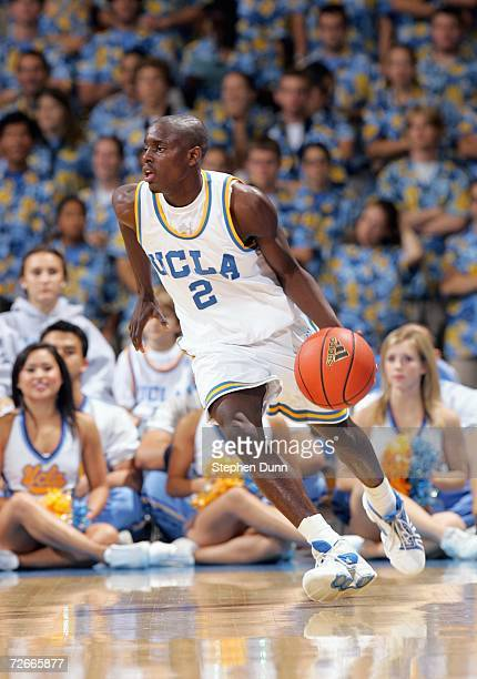 Darren Collison of the UCLA Bruins drives the ball during the game against the BYU Cougars on November 15 2006 at Pauley Pavilion in Los Angeles...