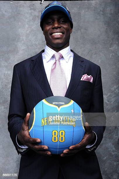 Darren Collison selected by the New Orleans Hornets poses for a portrait during the 2009 NBA Draft at The WaMu Theatre at Madison Square Garden on...