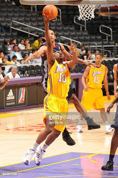 Darren Cooper of the Los Angeles DFenders goes up for a shot against the Anaheim Arsenal at Staples Center on January 25 2009 in Los Angeles...