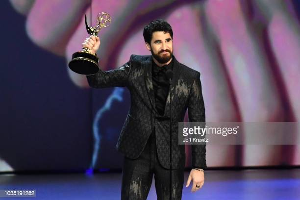 Darren Criss accepts the Outstanding Lead Actor in a Limited Series or Movie award for 'The Assassination of Gianni Versace American Crime Story'...