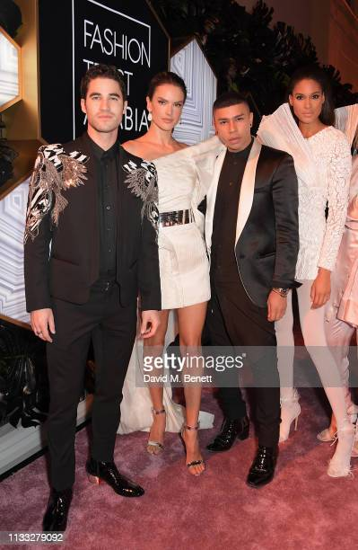 Darren Criss, Alessandra Ambrosio, Olivier Rousteing and Cindy Bruna attend the Fashion Trust Arabia Prize awards ceremony on March 28, 2019 in Doha,...