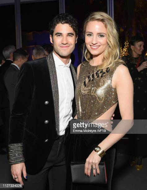 Darren Criss and Dianna Agron attend the 2019 Vanity Fair Oscar Party hosted by Radhika Jones at Wallis Annenberg Center for the Performing Arts on...