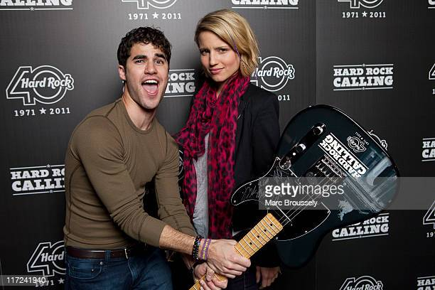 Darren Criss and Dianna Agron from the cast of Glee pose for portraits in the Hard Rock Cafe VIP Tent during the first day of Hard Rock Calling at...