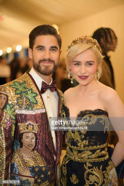 Darren Criss and Emilia Clarke attend the Heavenly Bodies Fashion The Catholic Imagination Costume Institute Gala at The Metropolitan Museum of Art...