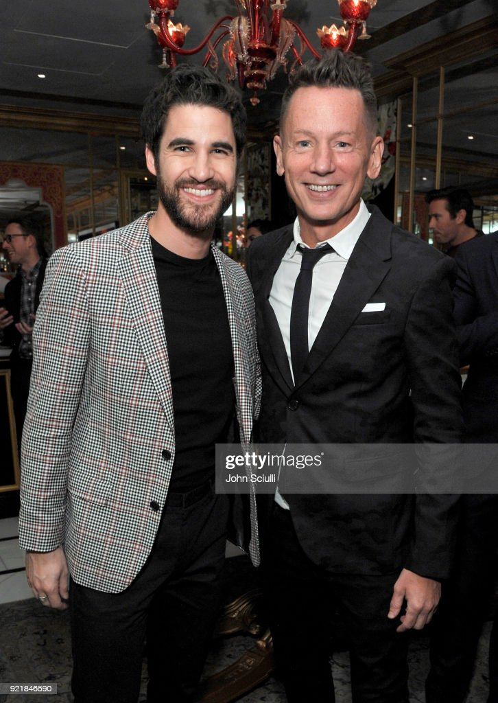 Darren Criss (L) and GQ Magazine Editor-In-Chief Jim Nelson attend GQ and Oliver Peoples Celebrate Timothee Chalamet March Cover Dinner at Nomad Los Angeles on February 20, 2018 in Los Angeles, California.