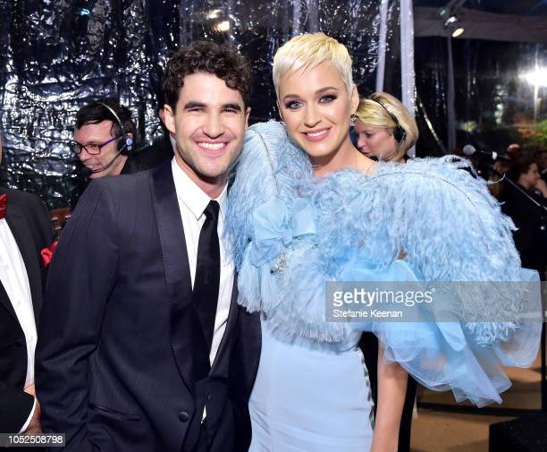 Darren Criss and Katy Perry attend the amfAR Gala Los Angeles 2018 at Wallis Annenberg Center for the Performing Arts on October 18 2018 in Beverly...