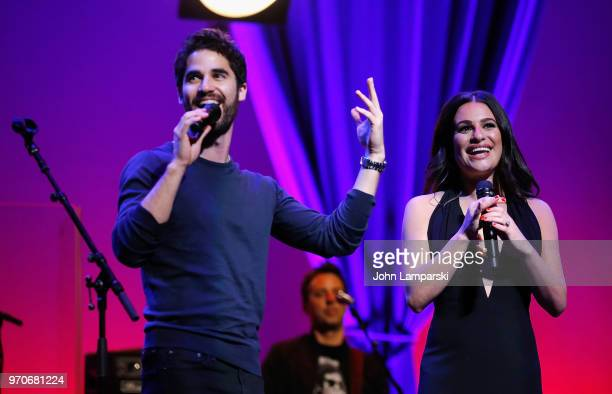 Darren Criss and Lea Michele in concert at NJPAC on June 9, 2018 in Newark, New Jersey.