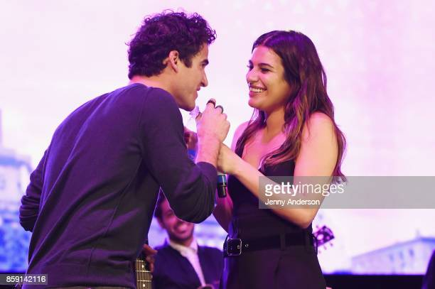 Darren Criss and Lea Michele performs onstage during Elsie Fest at Central Park SummerStage on October 8 2017 in New York City