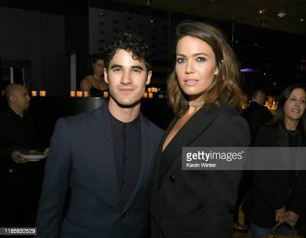 Darren Criss and Mandy Moore arrives at the after party for the premiere of Lionsgate's Midway at STK on November 05 2019 in Westwood California