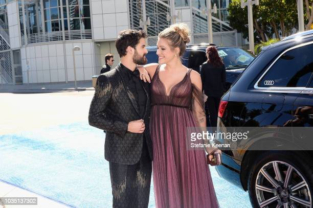 Darren Criss and Mia Swier attend Audi at the 70th Annual Emmy Awards at Microsoft Theater on September 17 2018 in Los Angeles California