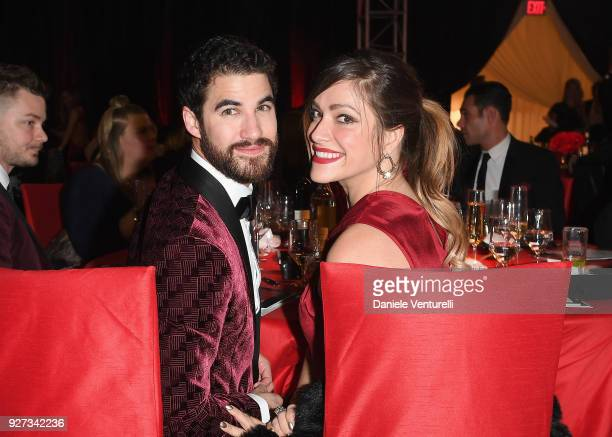 Darren Criss and Mia Swier attend Elton John AIDS Foundation 26th Annual Academy Awards Viewing Party at The City of West Hollywood Park on March 4...