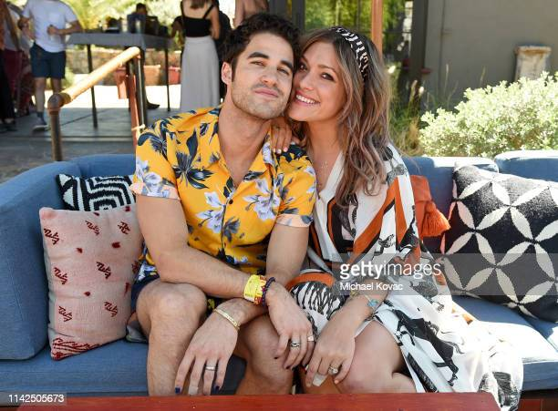 Darren Criss and Mia Swier attend Poolside with HM at Sparrow's Lodge on April 13 2019 in Palm Springs California