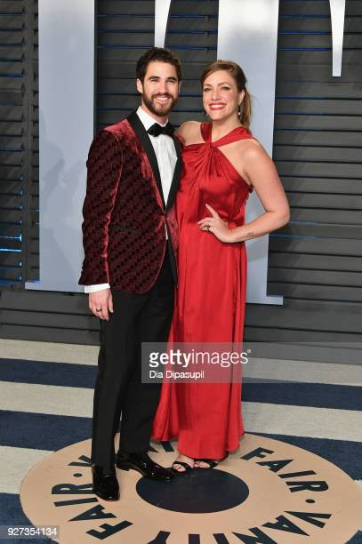 Darren Criss and Mia Swier attend the 2018 Vanity Fair Oscar Party hosted by Radhika Jones at Wallis Annenberg Center for the Performing Arts on...