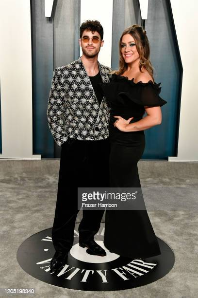 Darren Criss and Mia Swier attend the 2020 Vanity Fair Oscar Party hosted by Radhika Jones at Wallis Annenberg Center for the Performing Arts on...